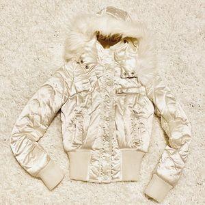 H&M Satin Silk Fur Hooded Jacket 🧥